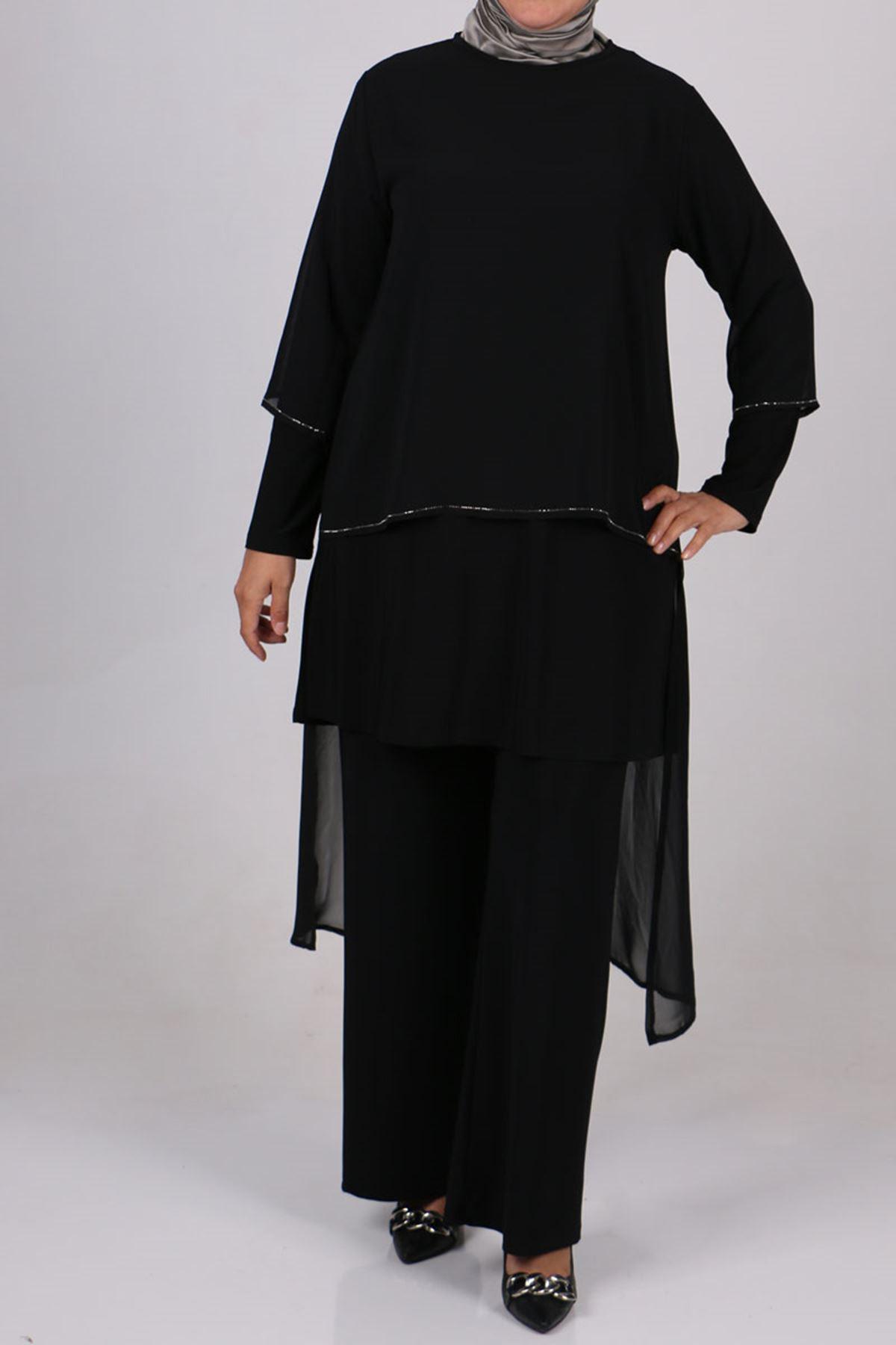 7709 Büyük Beden Sandy-Şifon Pantolonlu Takım - Siyah