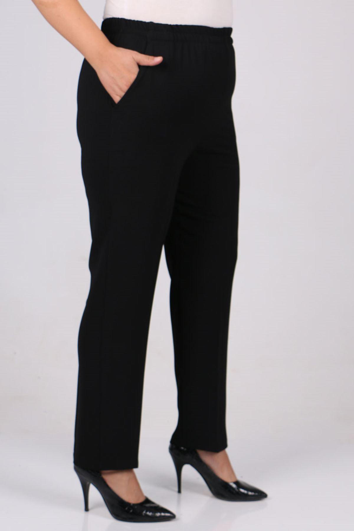 9172 Büyük Beden Beli Lastikli Boru Paça Pantolon - Siyah