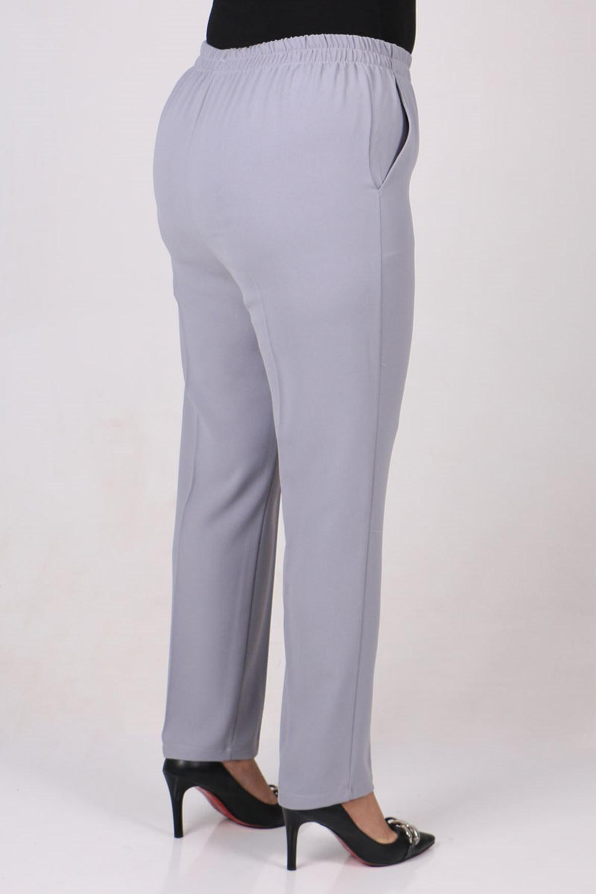 9172 Büyük Beden Beli Lastikli Boru Paça Pantolon - Gri