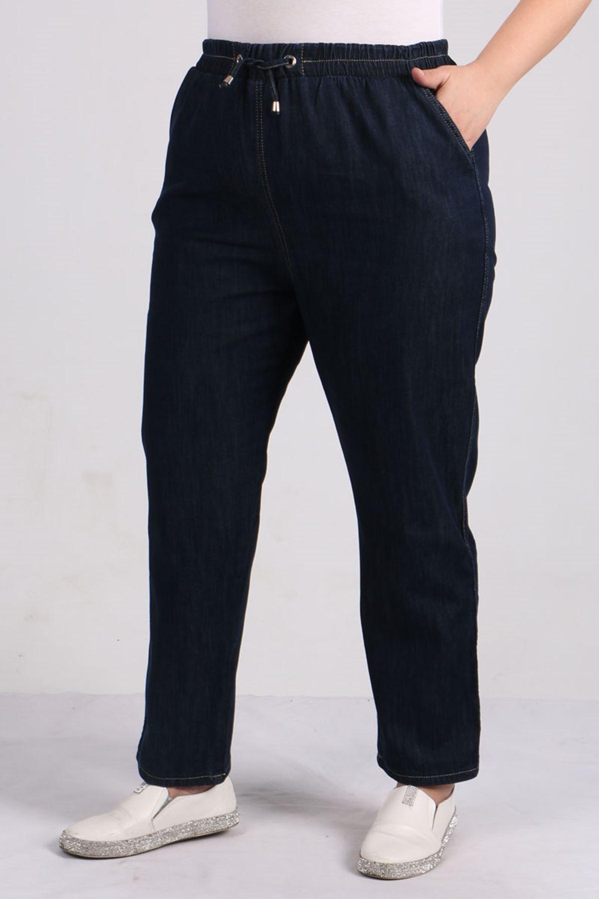 D-9123 Büyük Beden Defolu Beli Lastikli Dar Paça Kot Pantolon-Koyu Lacivert