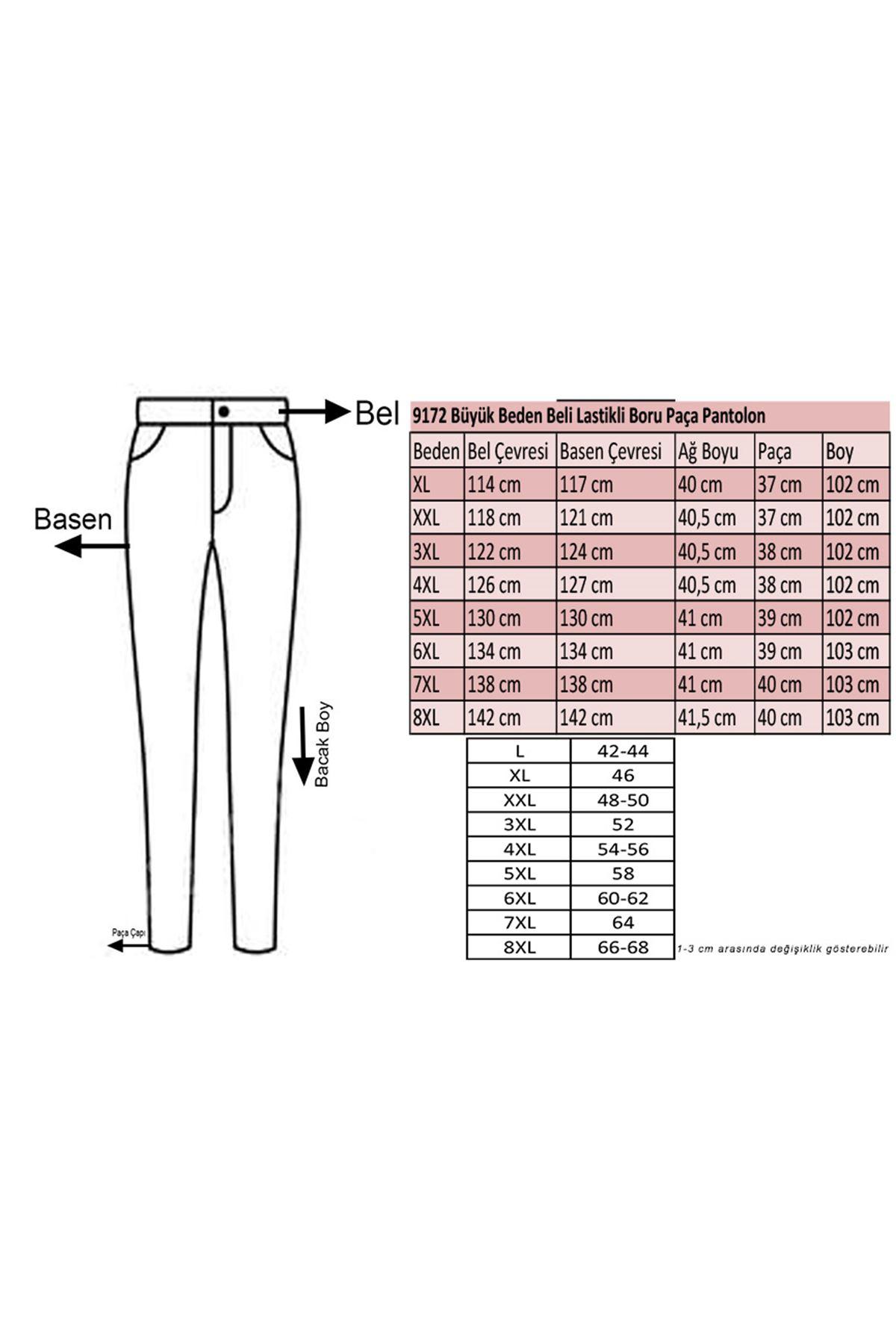 9172 Büyük Beden Beli Lastikli Boru Paça Pantolon - Taş