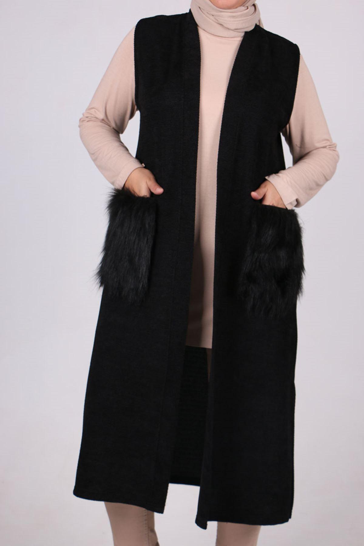 4060 Büyük Beden Örme Asya Giy-Çık Yelek - Siyah