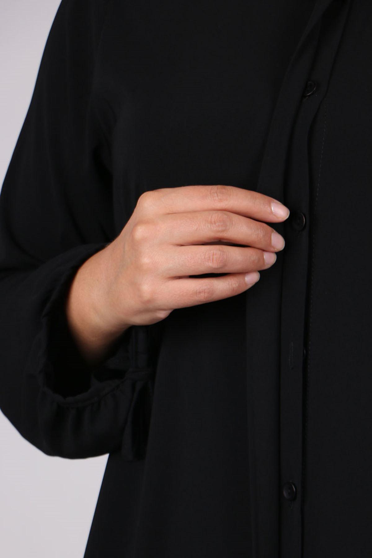 8484 Büyük Beden Balon Kol Medine İpeği Tunik - Siyah