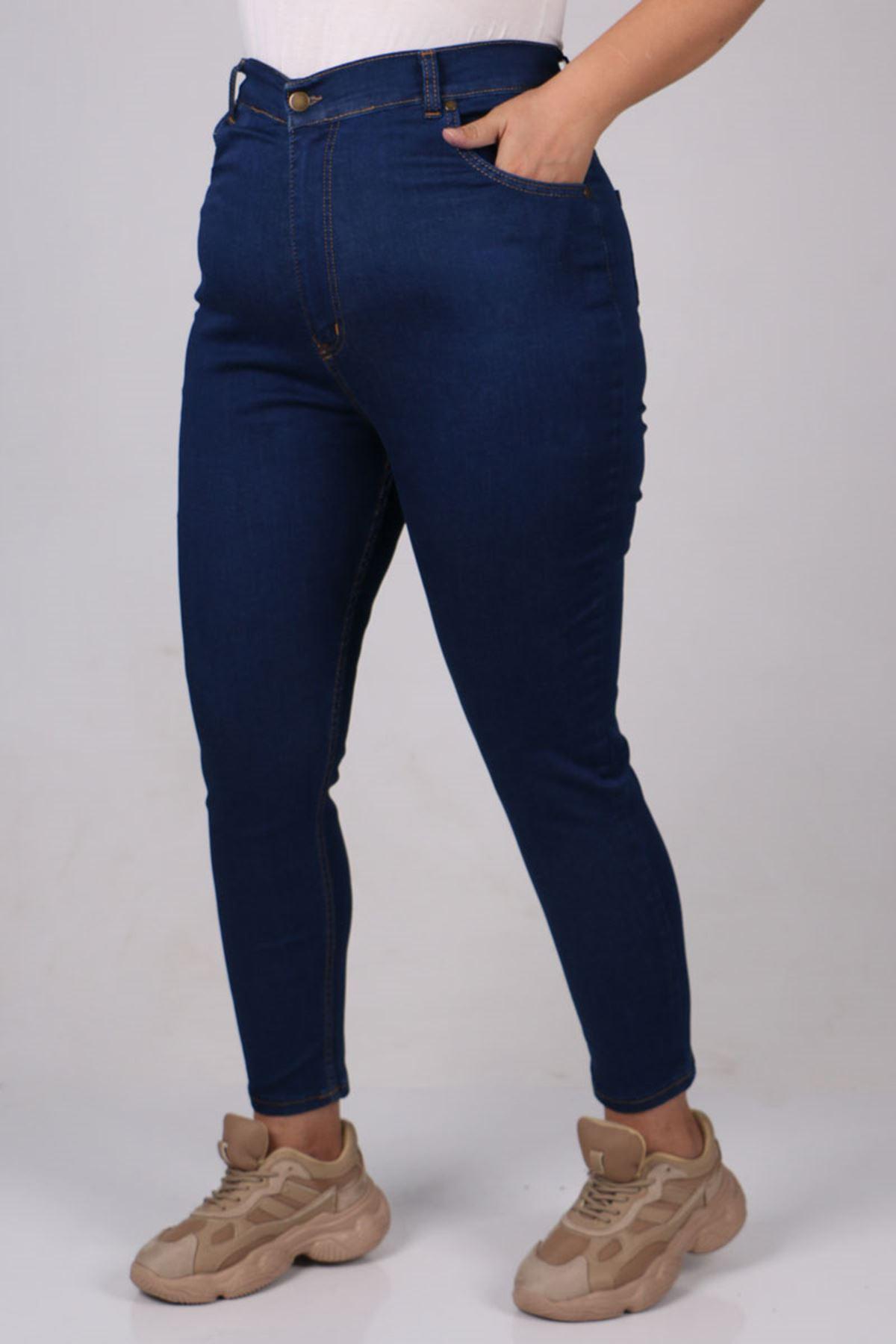 9107  Büyük Beden Dar Paça Kot Pantalon-Koyu Mavi