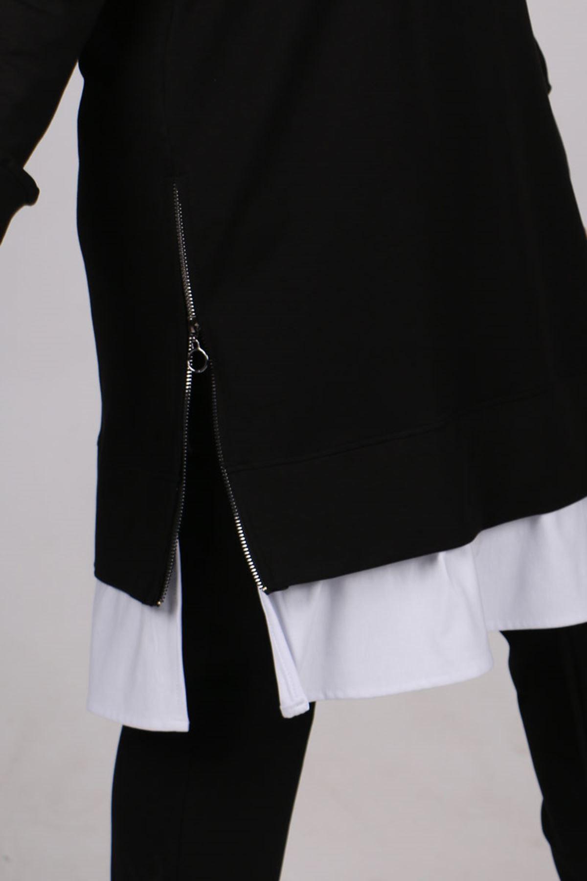 1948 Büyük Beden Beyaz Kombinli Pantolonlu İki İplik Takım - Siyah