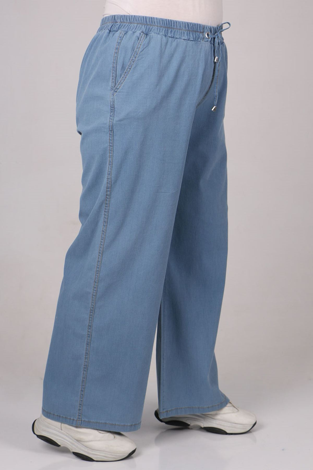 9175 Büyük Beden Bol Paça Kot Pantolon - Mavi