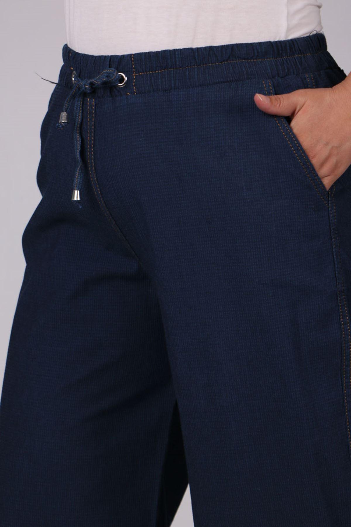 9175 Büyük Beden Bol Paça Kot Pantolon - Lacivert
