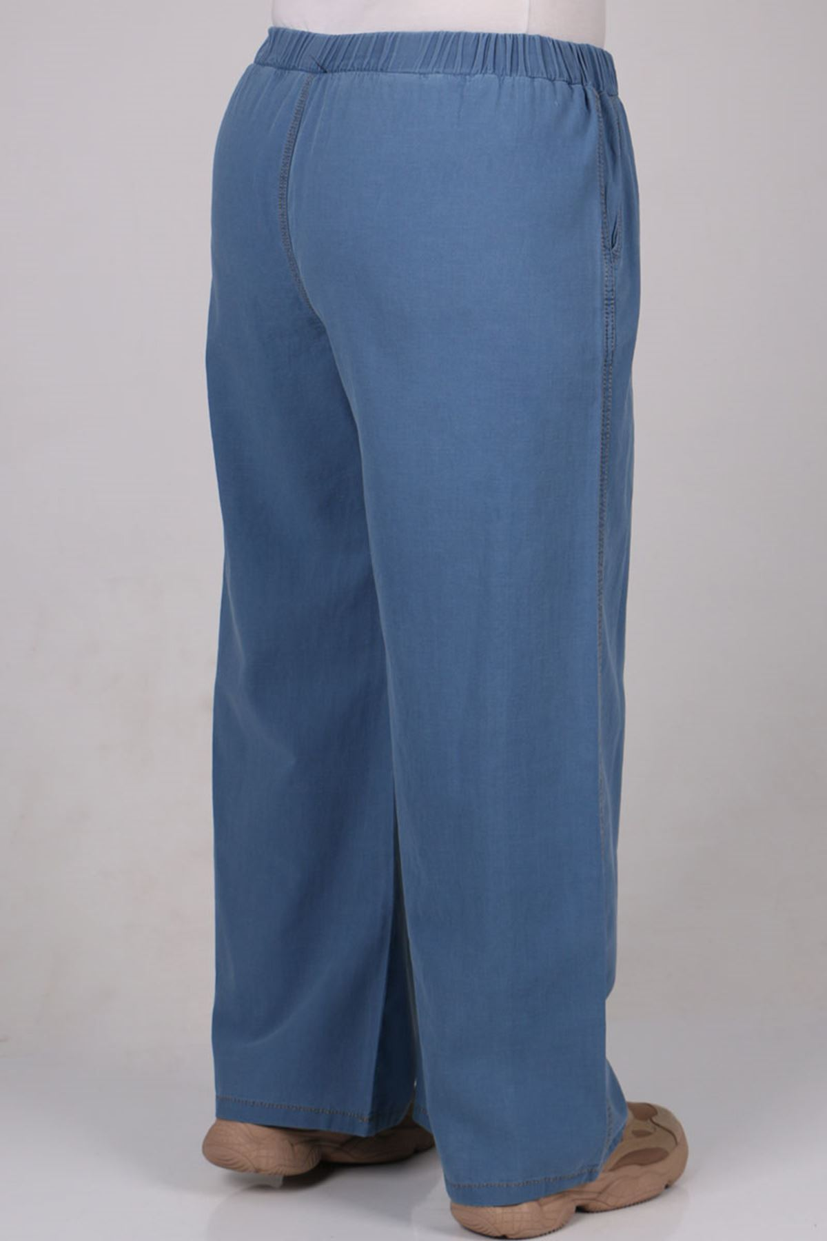 9176 Büyük Beden Bol Paça Kot Pantolon - Mavi