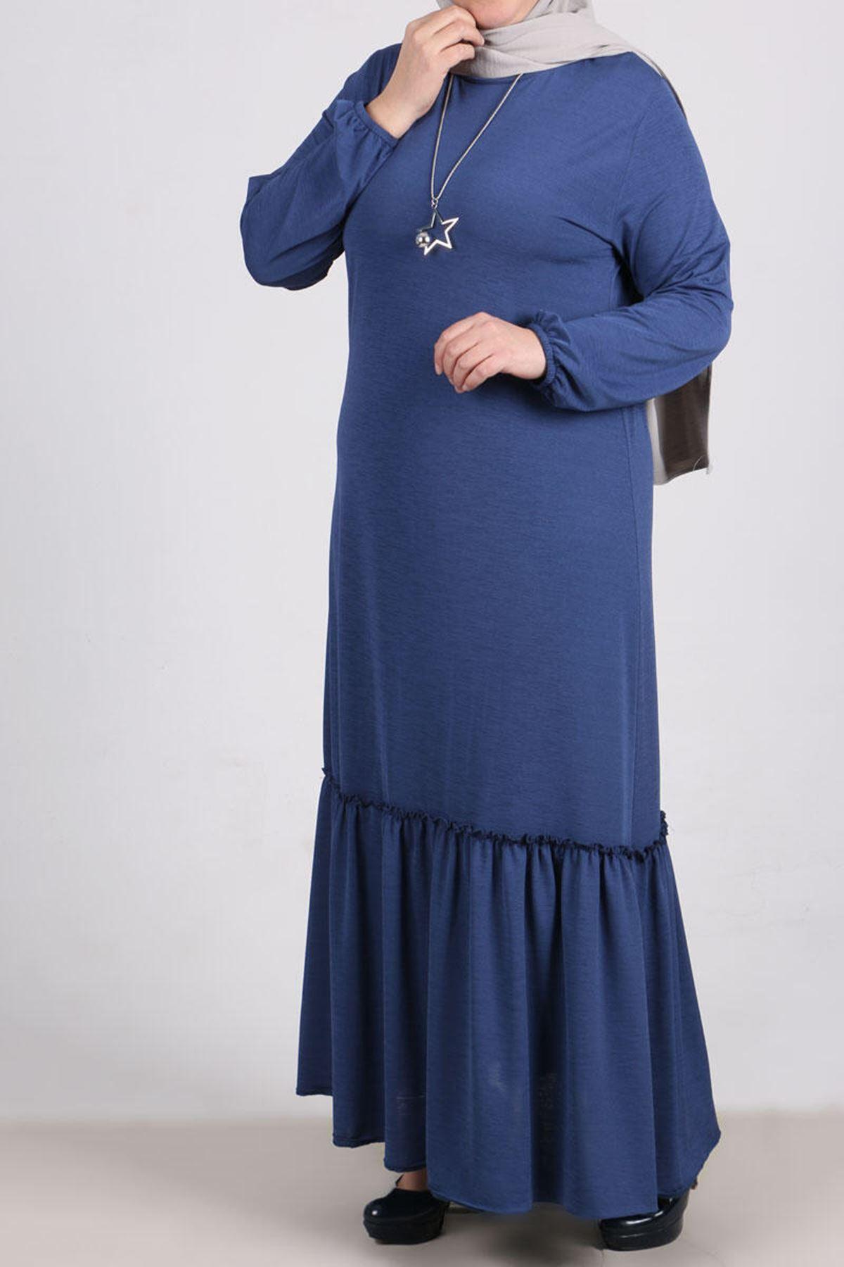 2089 Plus Size Sleeve Elastic Dress- Indigo
