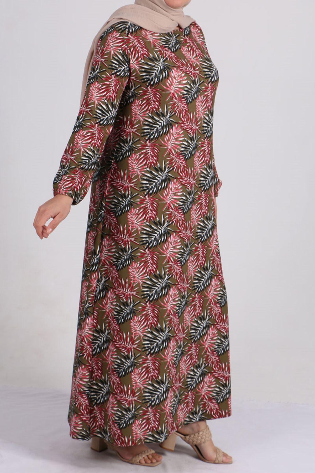 2093 Plus Size Knitted Crepe Sleeve Elastic Dress - Pink Leaf Patterned