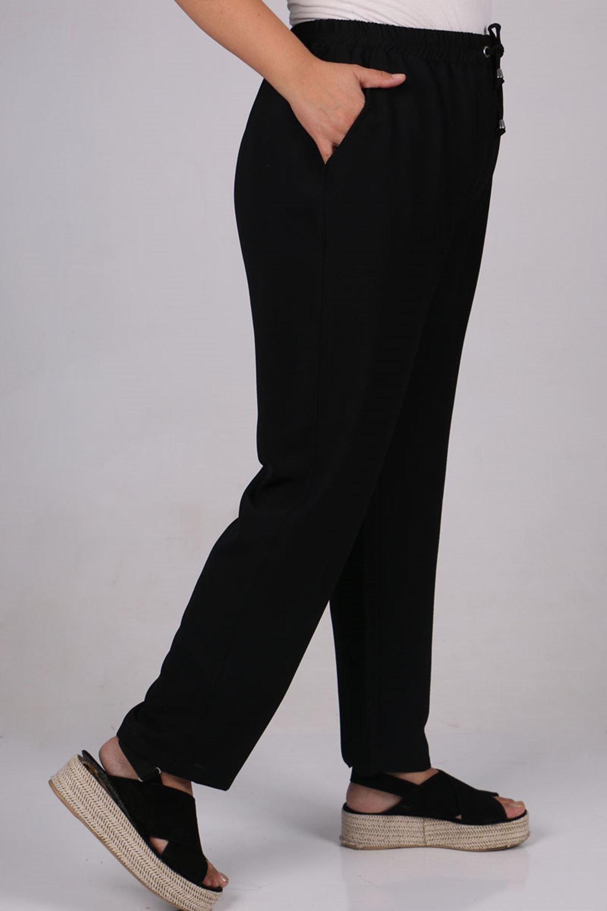 9169 Büyük Beden Lastikli Moskino Dar Paça Pantolon - Siyah