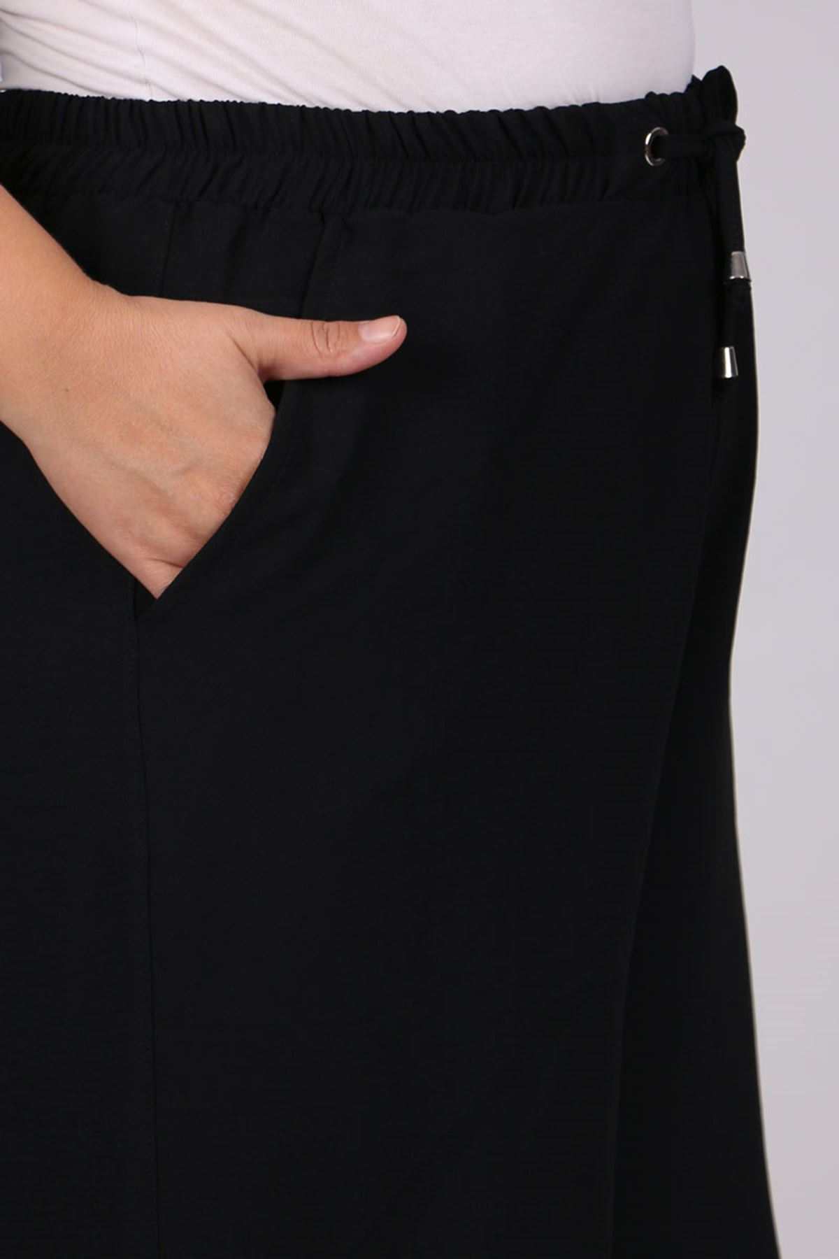 9170 Büyük Beden Bol Paça Moskino Pantolon - Siyah