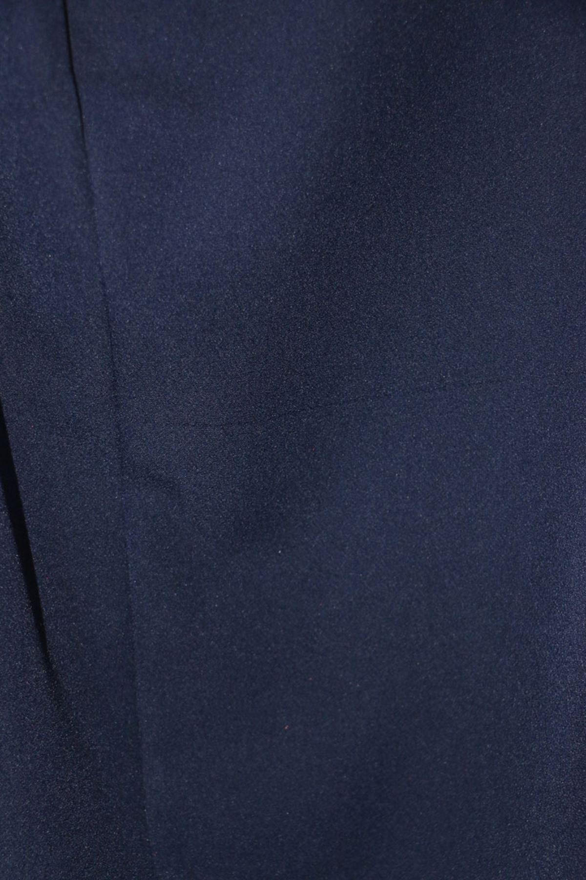9025 بنطلون مرن الخصر و مقاس كبير - أزرق كحلي