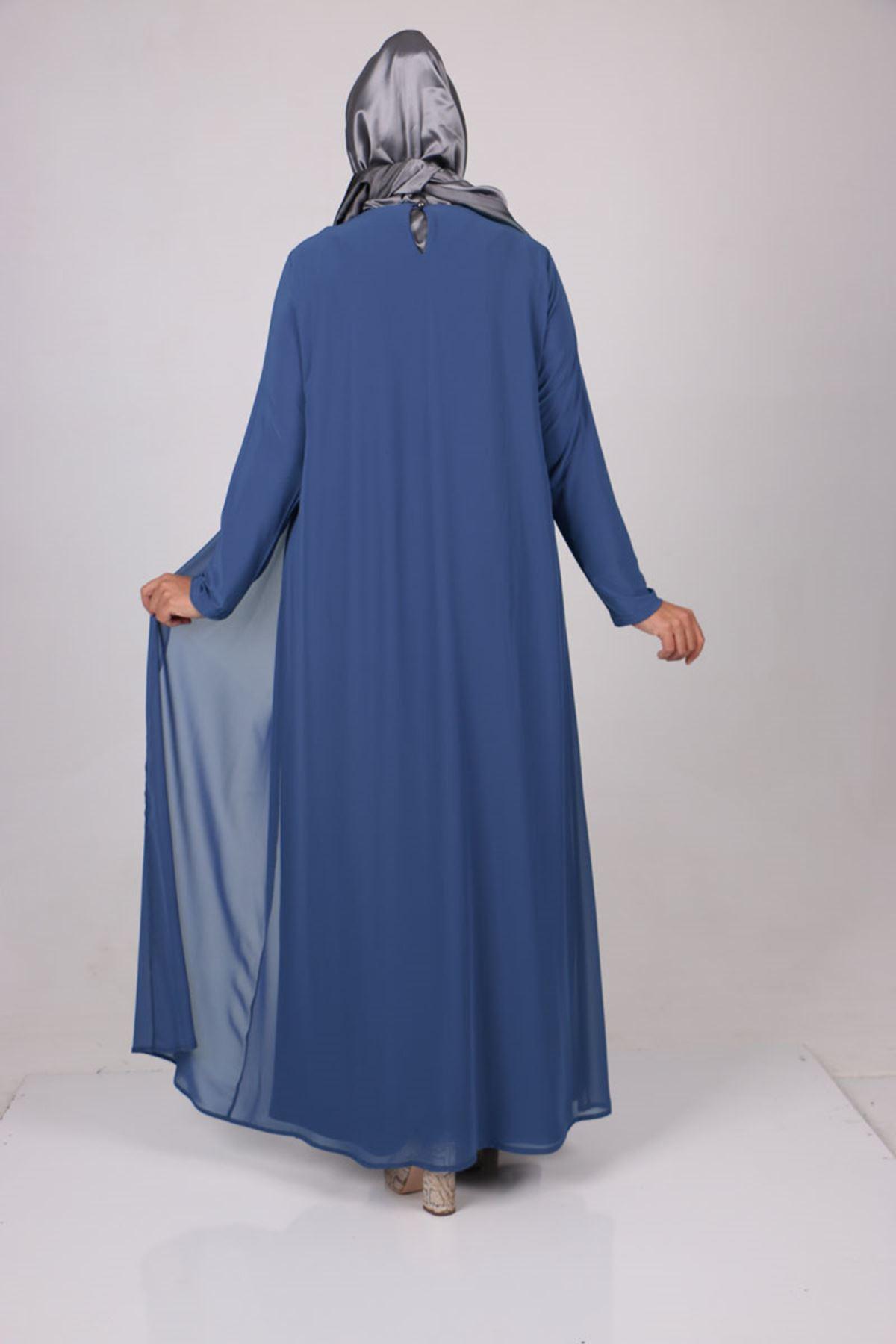 2097 Büyük Beden Sandy-Şifon Taş Baskılı Elbise - İndigo