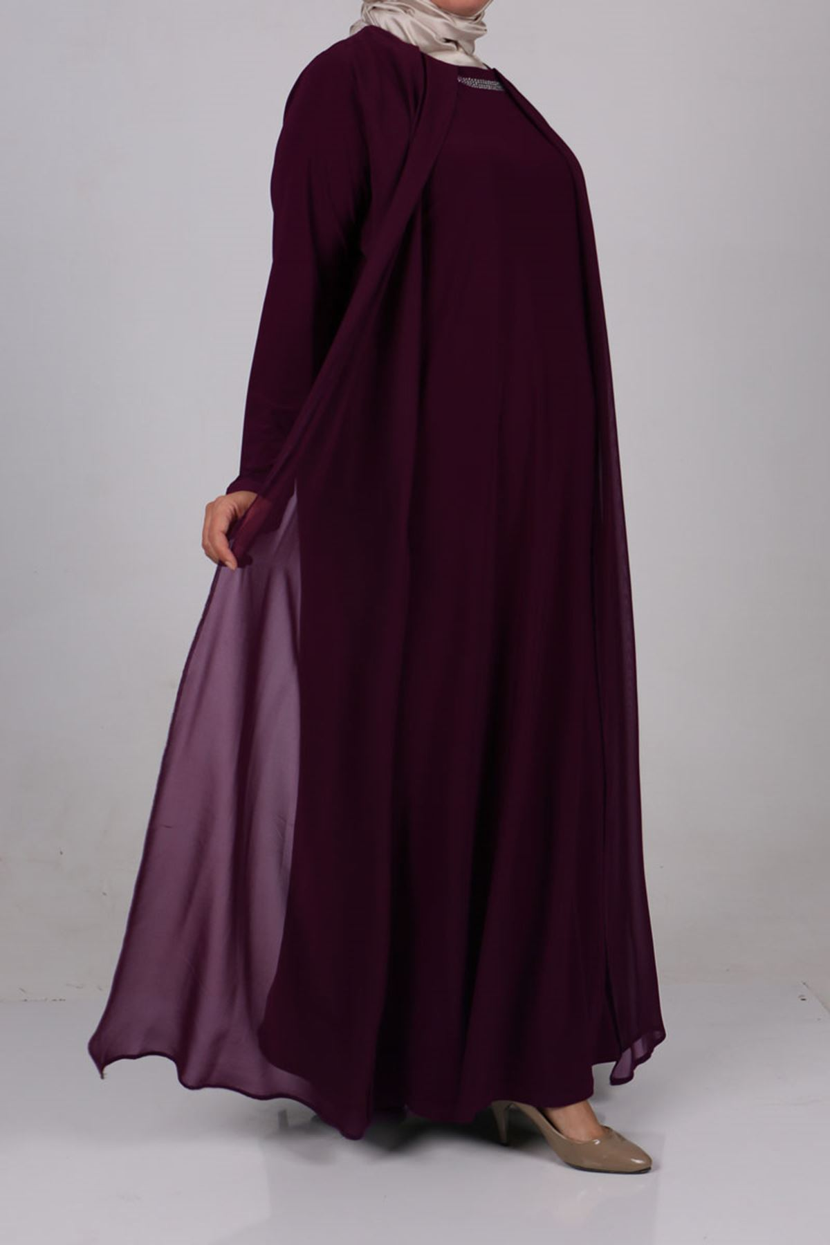 2097 Büyük Beden Sandy-Şifon Taş Baskılı Elbise - Mürdüm