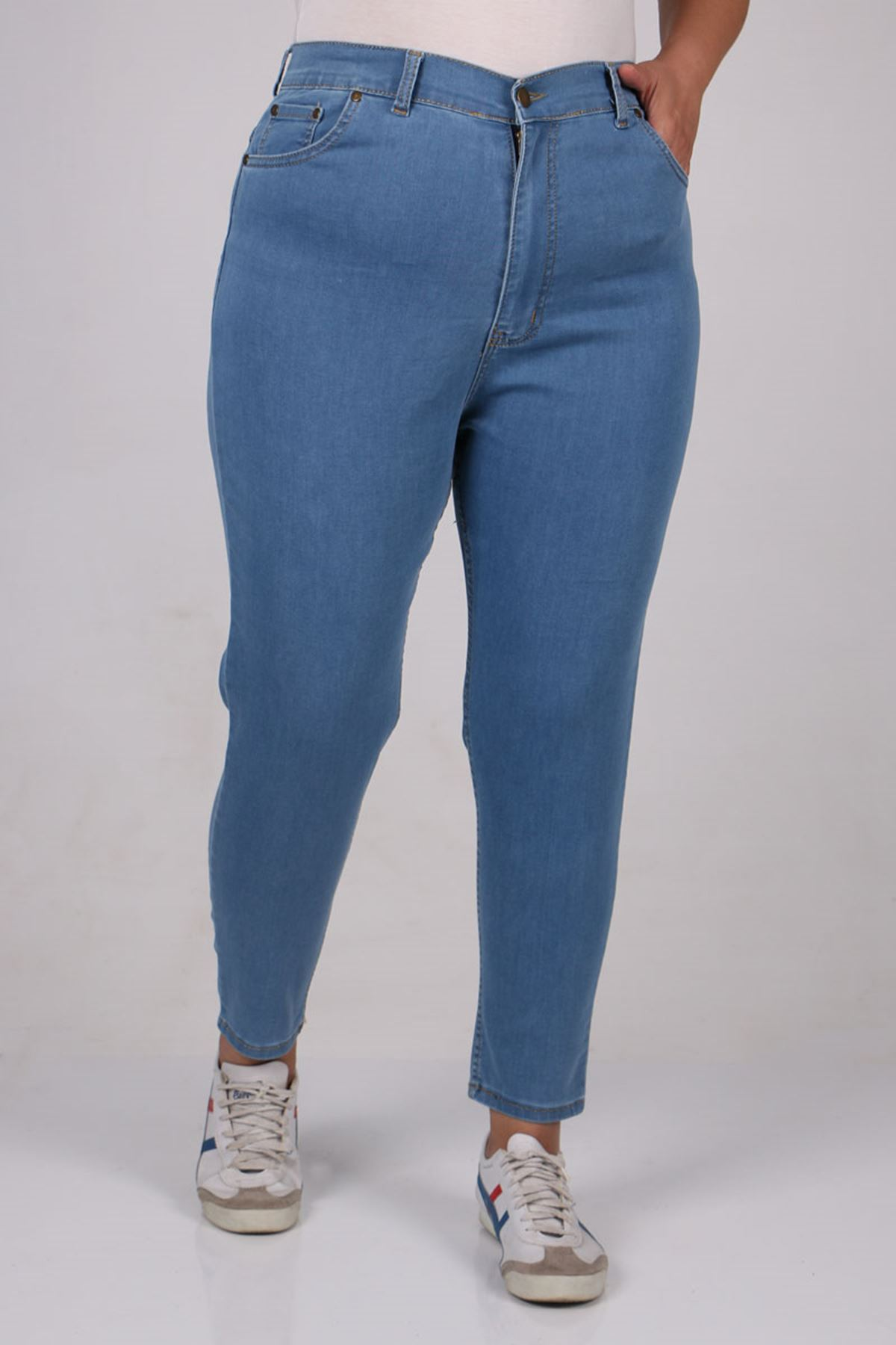 9107 Plus Size Skinny Leg Jeans - Petrol