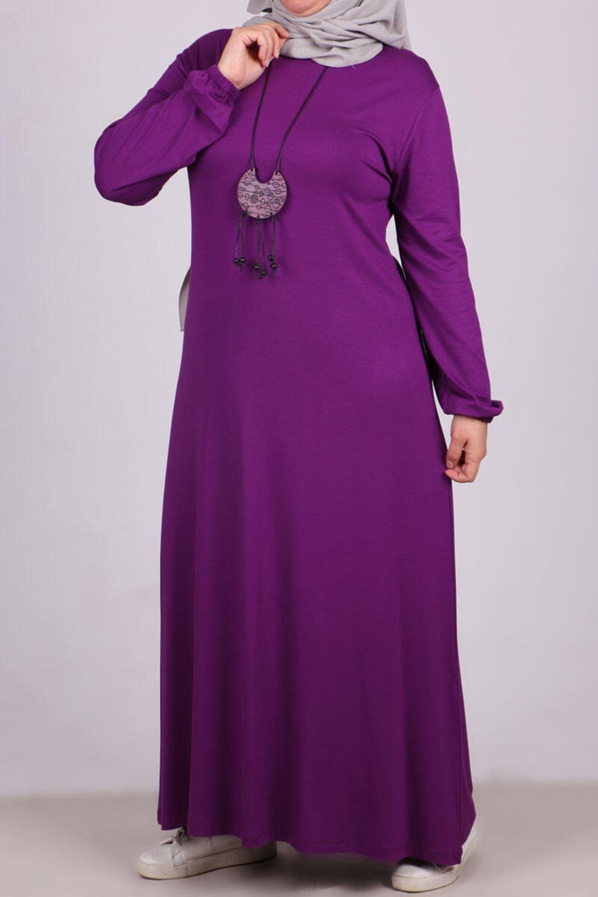 2035 فستان بأكمام مطاط مقاس كبير - ارجواني