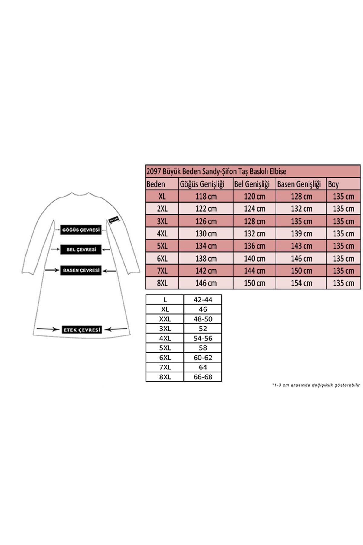 2097 Büyük Beden Sandy-Şifon Taş Baskılı Elbise - Siyah