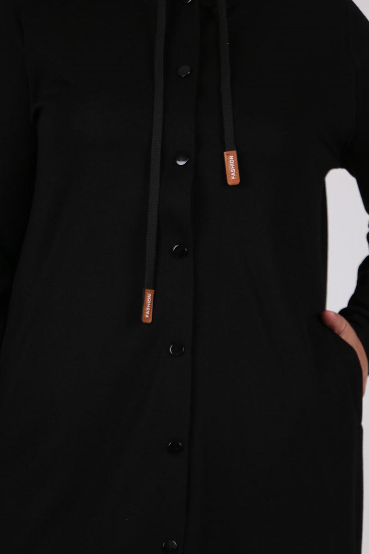 3175 Büyük Beden Duble Örme Ceket - Siyah
