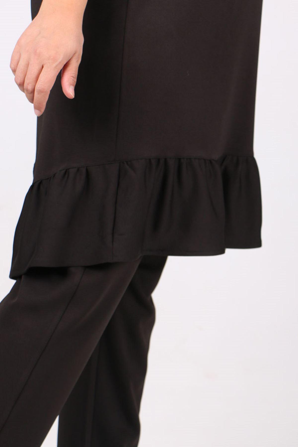 7714 Büyük Beden Scuba Kapüşonlu  Pantolonlu Takım - Siyah