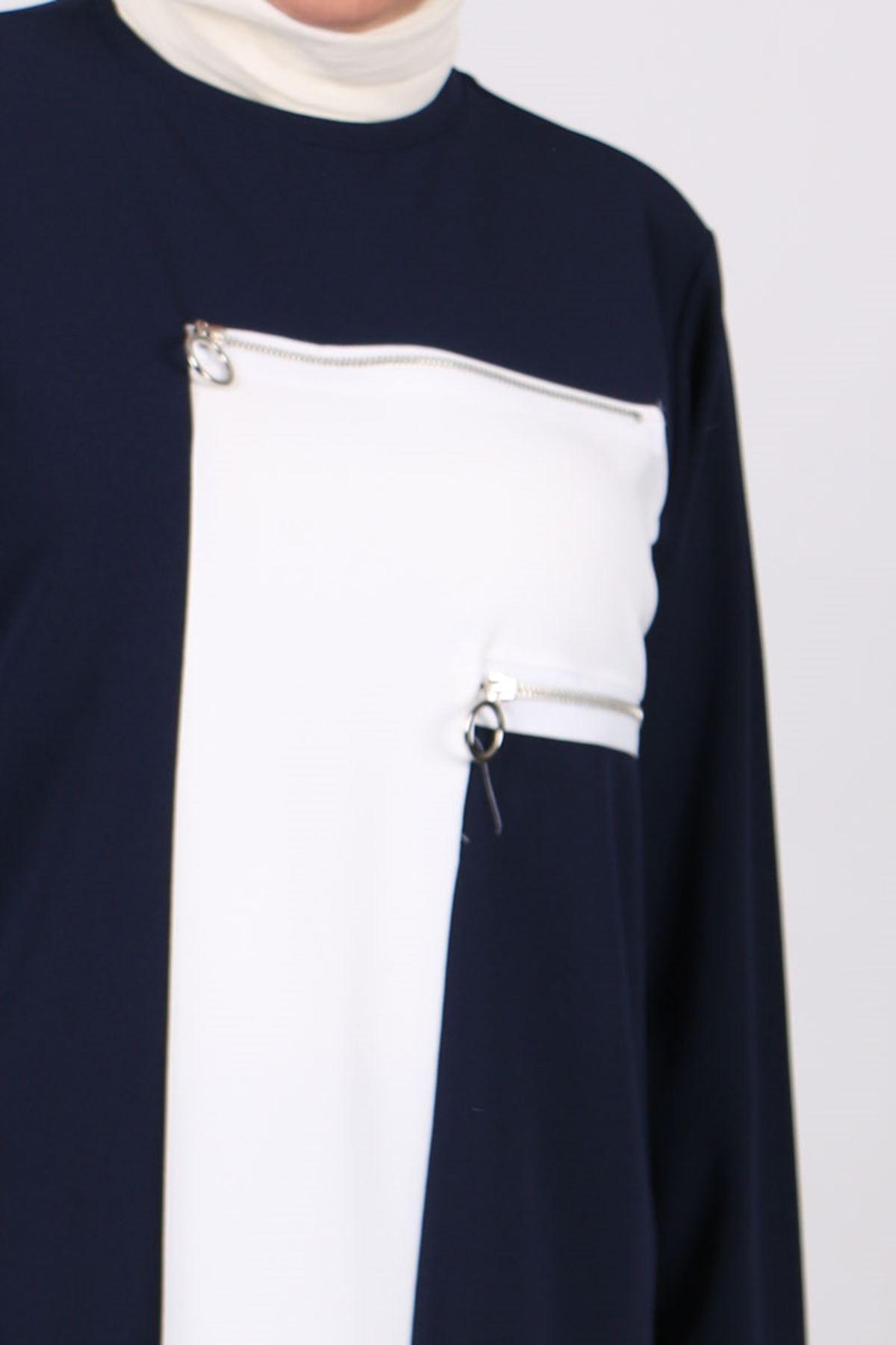 7716 Büyük Beden Scuba Beyaz Kombinli Pantolonlu Takım - Lacivert