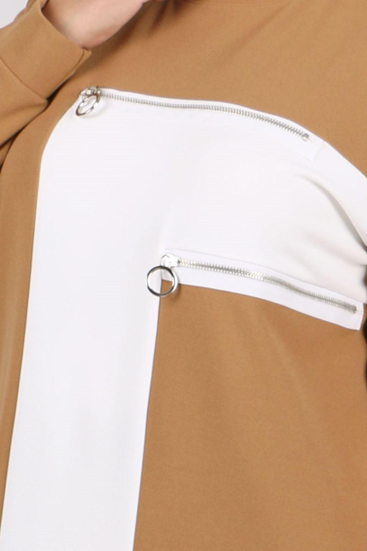 7716 Büyük Beden Scuba Beyaz Kombinli Pantolonlu Takım - Taba