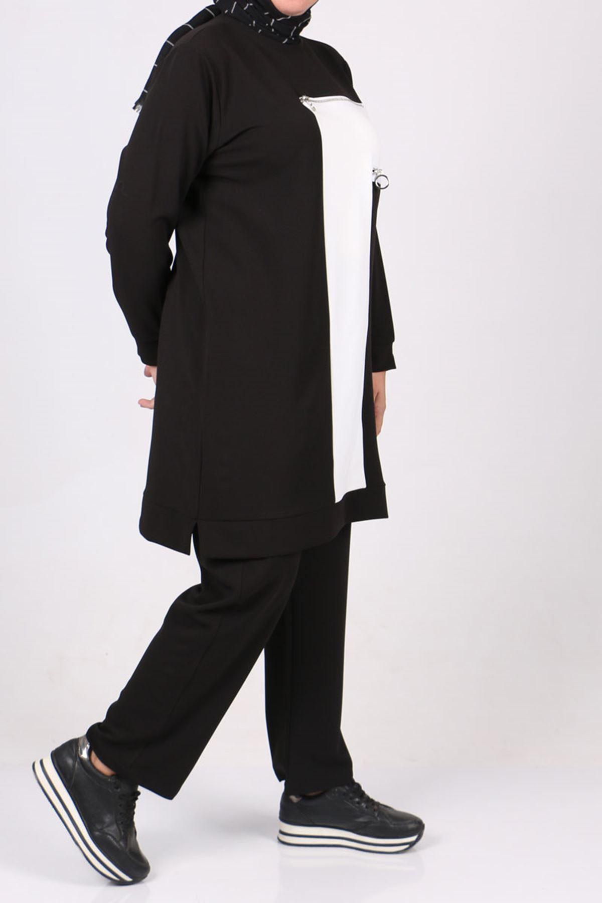 7716 Büyük Beden Scuba Beyaz Kombinli Pantolonlu Takım - Siyah