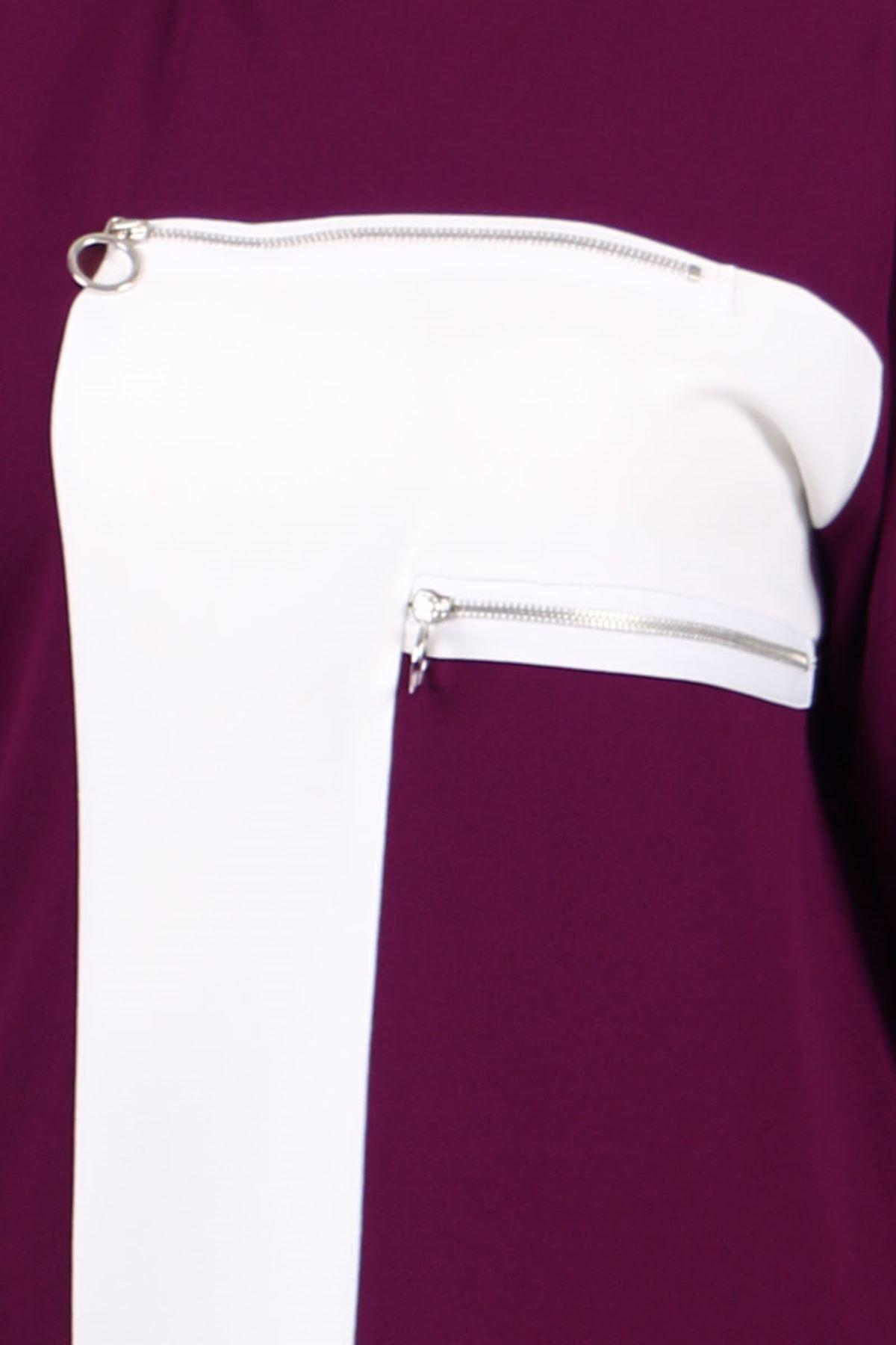 7716 Büyük Beden Scuba Beyaz Kombinli Pantolonlu Takım - Mürdüm