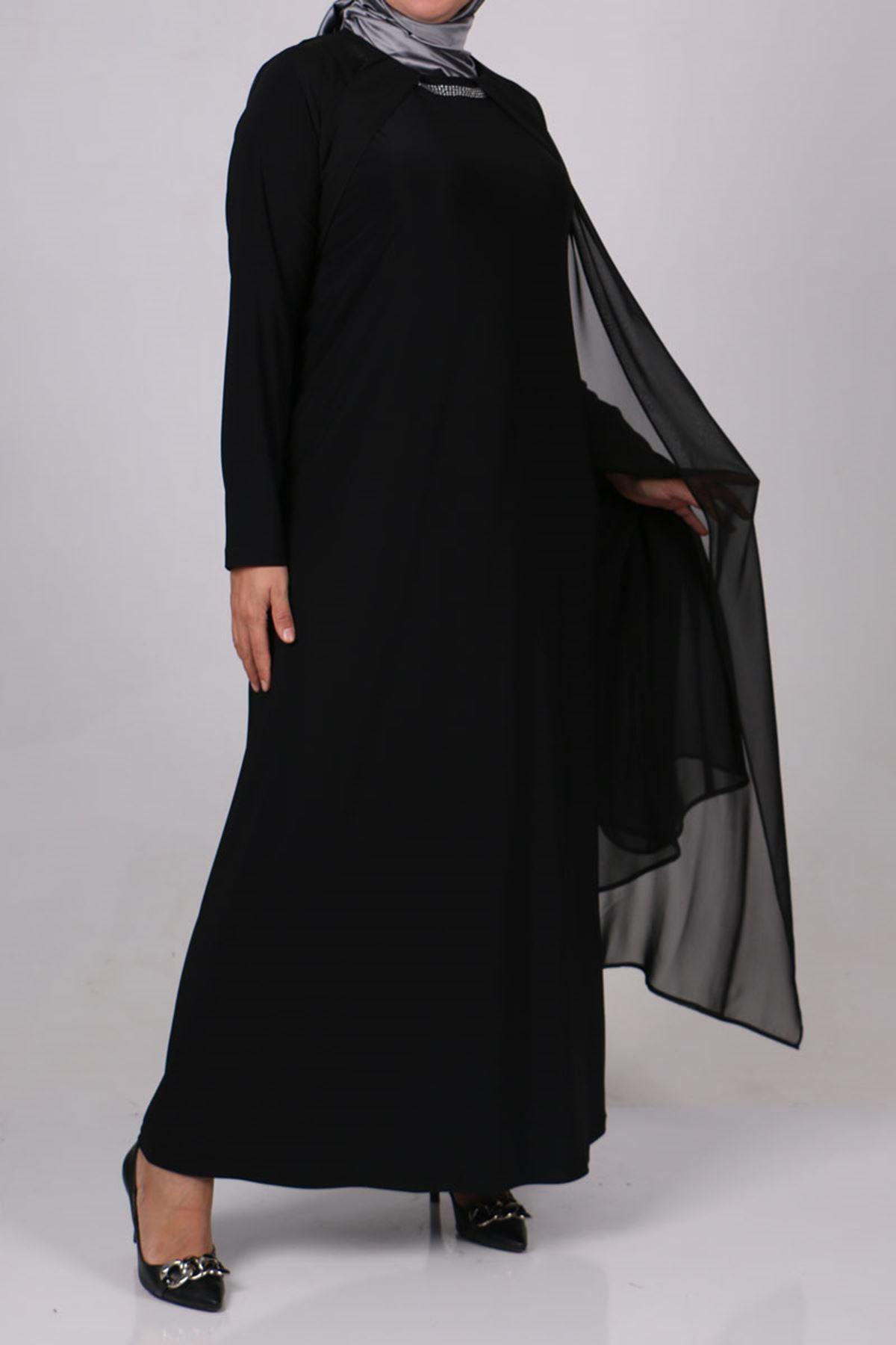 D-2097 Büyük Beden Sandy-Şifon Taş Baskılı Defolu Elbise - Siyah