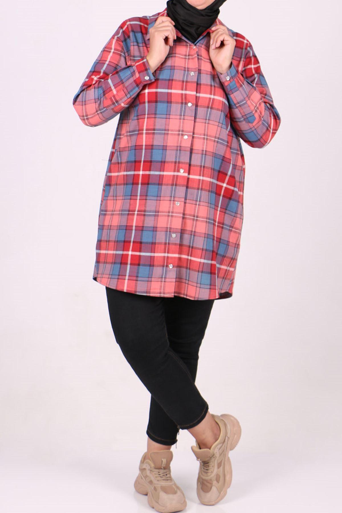 8486 Büyük Beden Oduncu Gömlek-Kırmızı Kareli