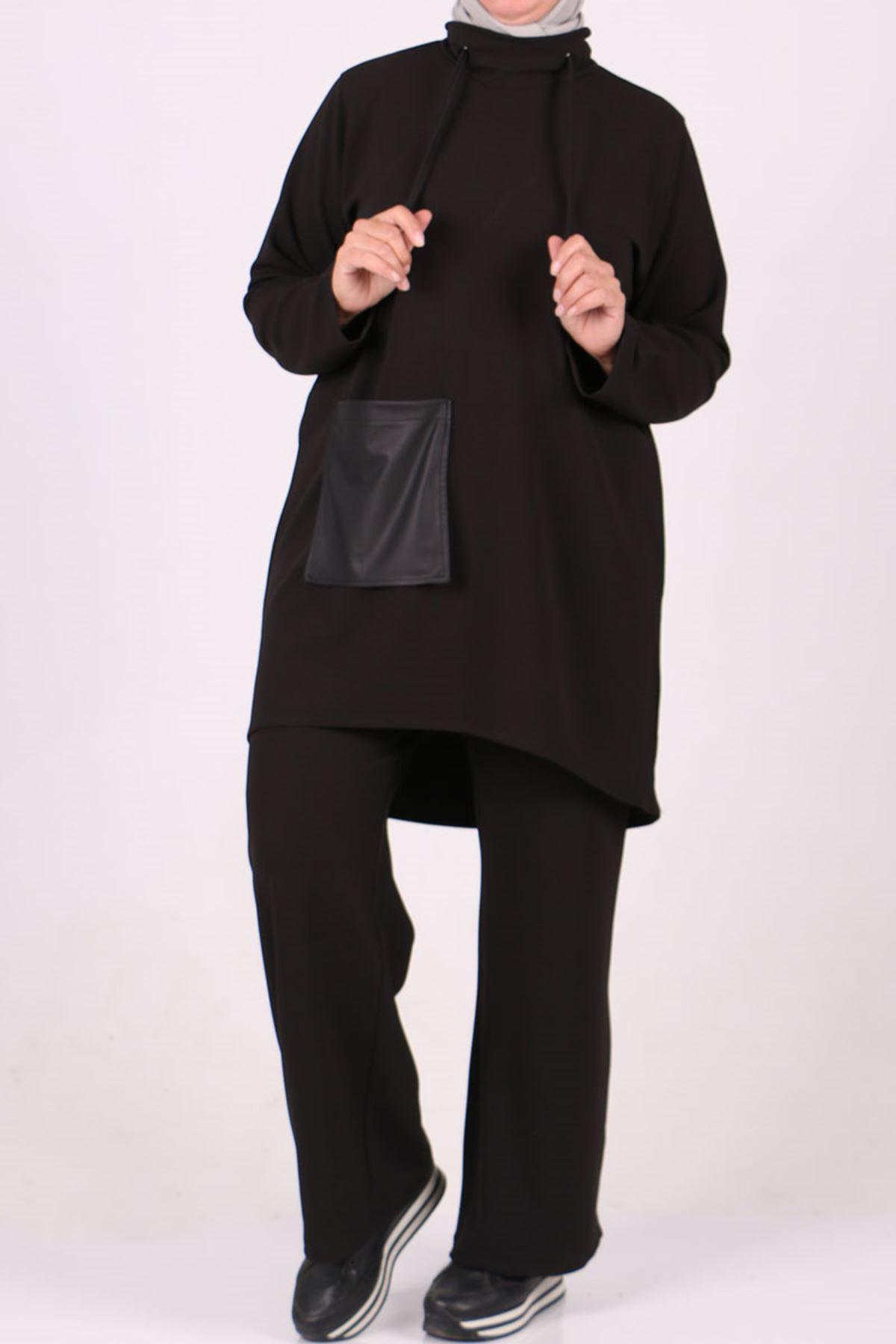 7715 Büyük Beden Waterport Detaylı Scuba  Pantolonlu Takım-Siyah