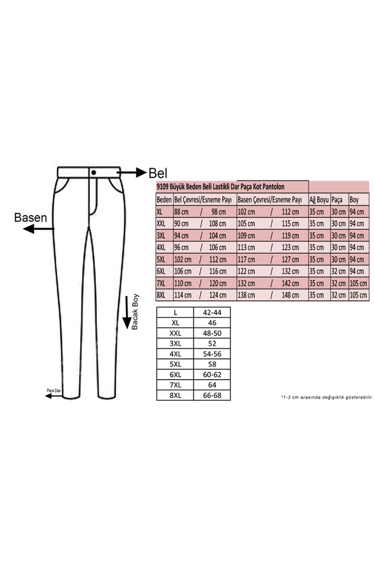 D-9109-10 Büyük Beden Beli Lastikli Tırnaklı  Dar Paça Kot Pantalon- Mavi