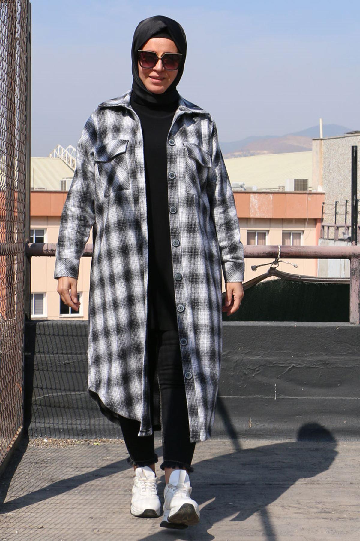 3189 Büyük Beden Oduncu Ekose Ceket - Siyah