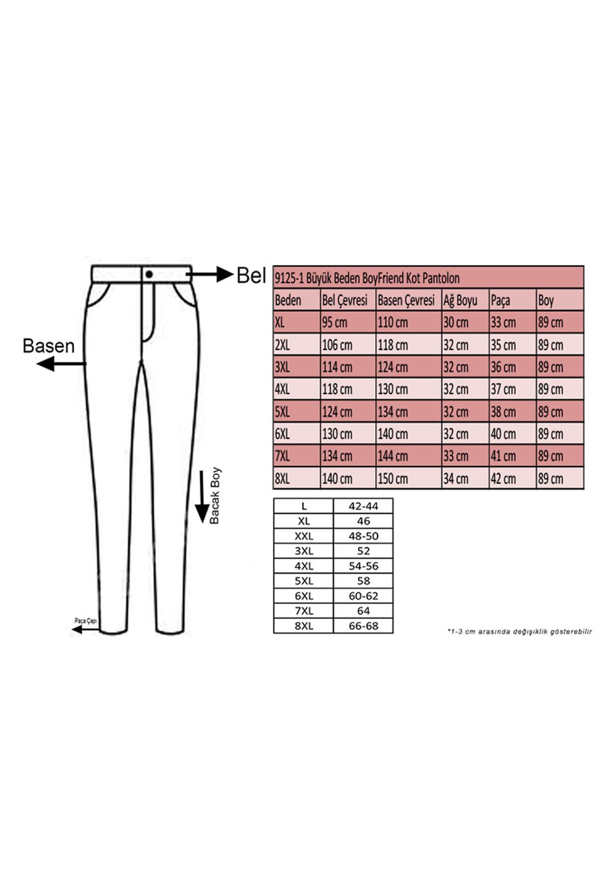 9125-1  Büyük Beden BoyFriend Kot Pantolon-Beyaz