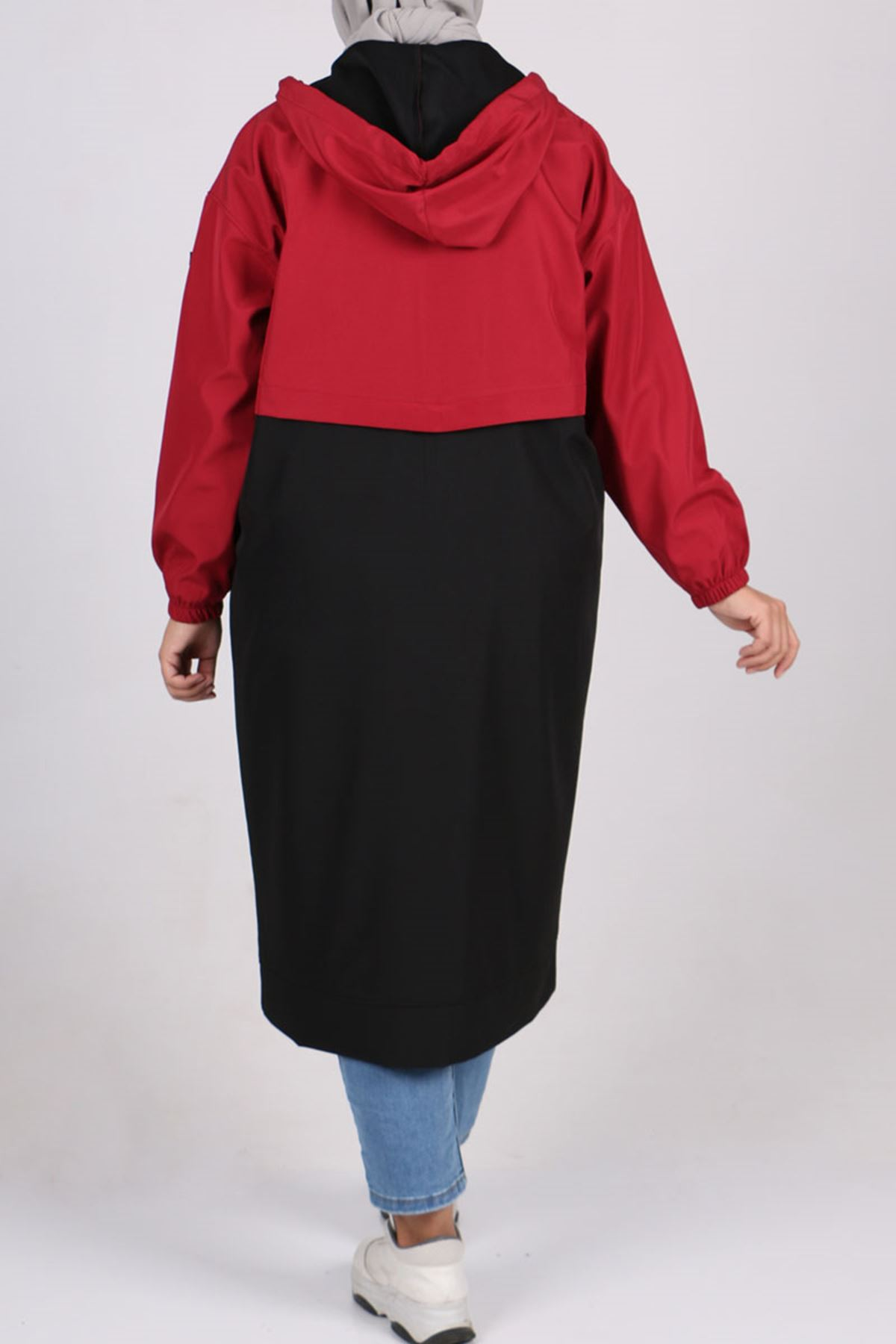 3188 Büyük Beden Bondit Çift Renk Ceket - Bordo-Siyah