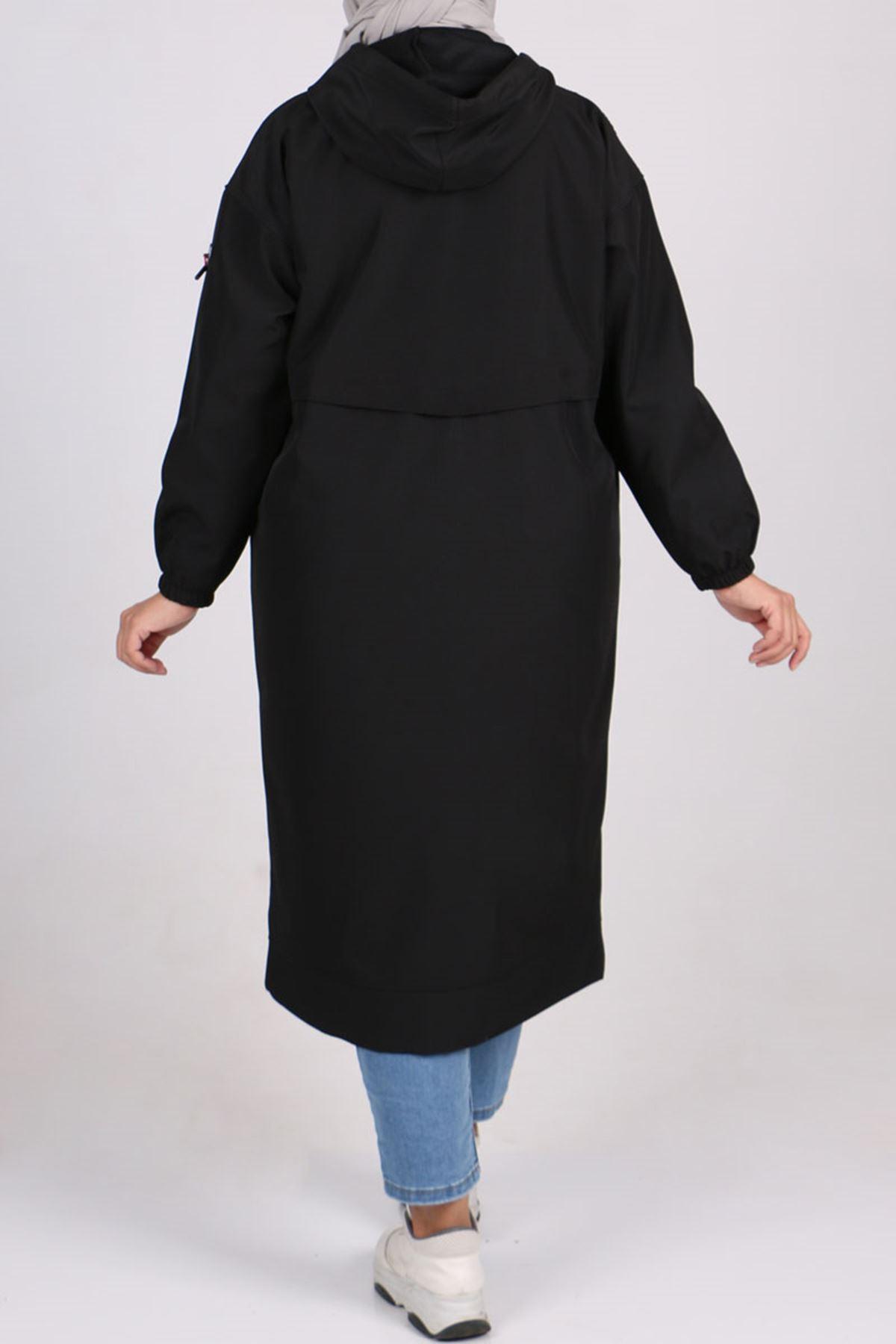 3188 Büyük Beden Bondit Çift Renk Ceket - Siyah-Siyah