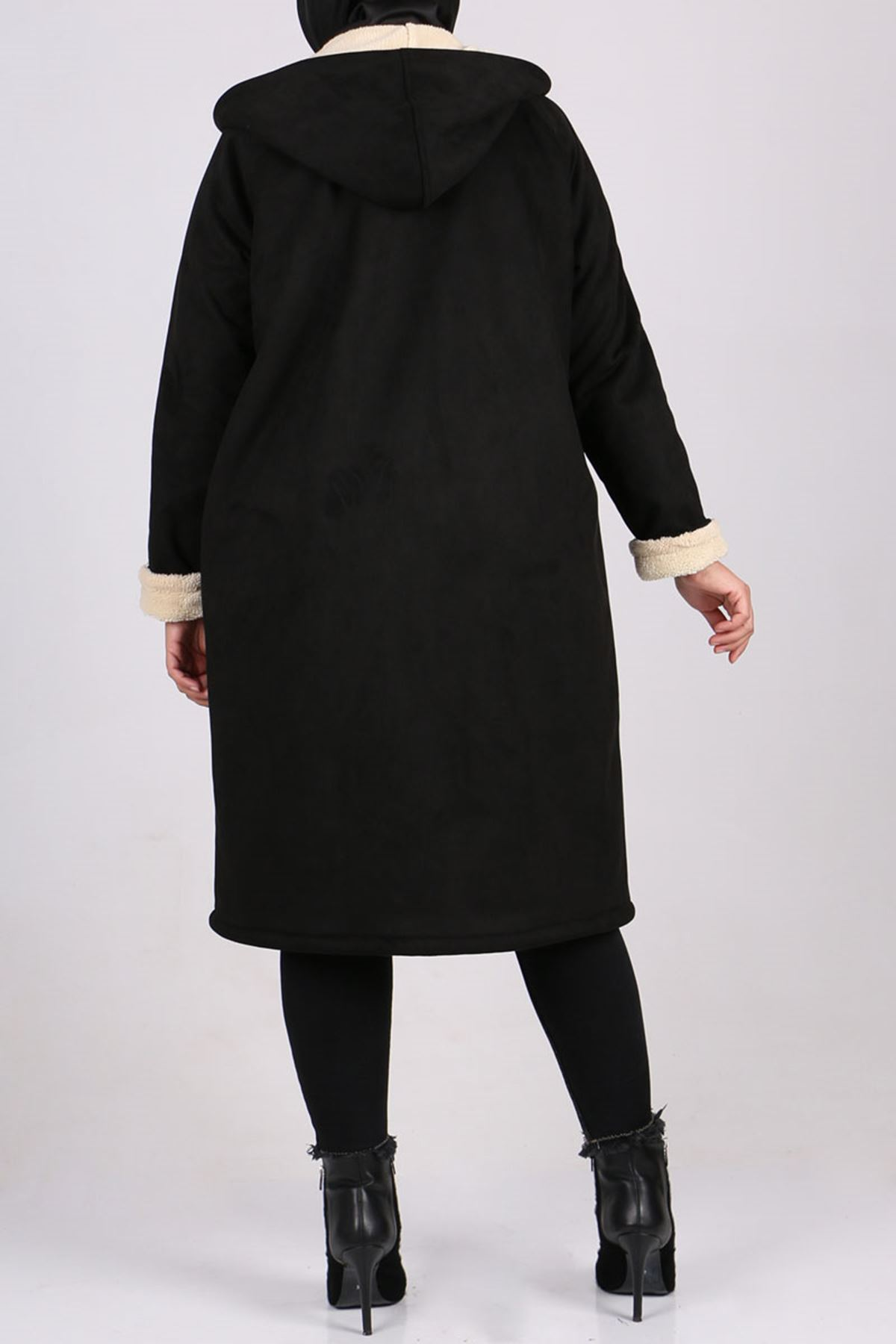 3200 Büyük Beden Nubuk Astarlı Ceket - Siyah