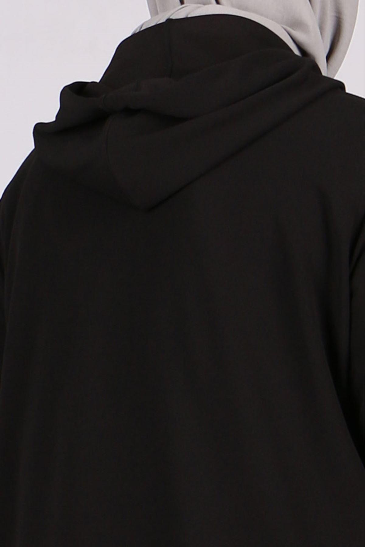 3186 Büyük Beden Scuba Fermuarlı Ceket - Siyah