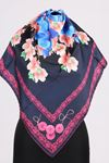 17167 Button-Flower Patterned Twill Scarf - V5