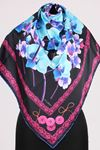 17167 Button-Flower Patterned Twill Scarf - V9