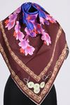 17167 Button-Flower Patterned Twill Scarf - V4