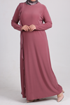 2087 Plus Size Flounced Dress - Dusty Rose