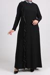 2087 Plus Size Flounced Dress - Black