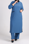 7640 Plus Size Two Piece Set with Tunic and Pants-Baby Blue