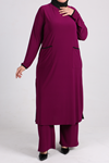 7640 Plus Size Two Piece Set with Tunic and Pants- Plum