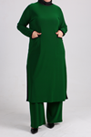 7640 Plus Size Two Piece Set with Tunic and Pants- Emerald