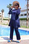 3215 Plus Size Hijab Swimsuit - Navy Blue