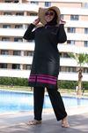 3425 ملابس سباحة مقاس كبير مع سترة بدون أكمام - أسود