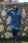 3425 ملابس سباحة مقاس كبير مع سترة بدون أكمام - لون ازرق بترولي